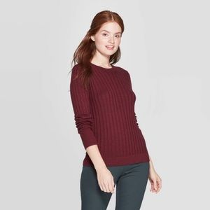 A New Day Ribbed Maroon Crew Neck Sweater NWT